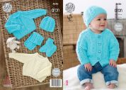 King Cole Baby Sweater, Cardigan, Hat, Scarf & Booties Comfort Knitting Pattern 4646  Aran
