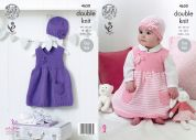 King Cole Baby Dresses & Hats Cherished Knitting Pattern 4650  DK