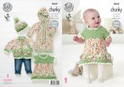 King Cole Baby Dress, Cardigan, Onesie & Gat Comfort Knitting Pattern 4654  Chunky