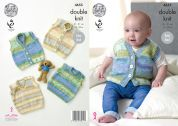 King Cole Baby Slipover & Waistcoats Splash Knitting Pattern 4655  DK