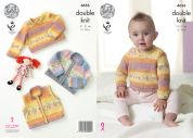 King Cole Baby Waistcoat, Cardigan & Sweater Splash Knitting Pattern 4656  DK