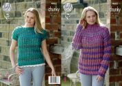 King Cole Ladies Sweater & Top Corona Knitting Pattern 4662  Chunky