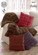 King Cole Home Throw Blanket & Cushion Covers Corona Knitting Pattern 4665  Chunky