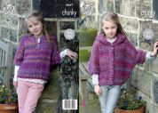 King Cole Girls Ponchos Corona Knitting Pattern 4667  Chunky