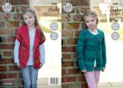 King Cole Girls Cardigans Corona Knitting Pattern 4668  Chunky