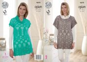 King Cole Ladies Slouch Tunic & Cowl Neck Top Opium Knitting Pattern 4670