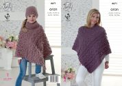 King Cole Ladies & Girls Ponchos & Hats Fashion Knitting Pattern 4671  Aran