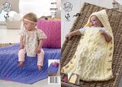 King Cole Baby Baby Sleeping Bag, Cushion & Blanket Comfort Knitting Pattern 4672  Aran