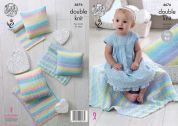 King Cole Baby Blankets & Cushions Melody Knitting Pattern 4676  DK