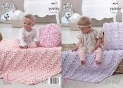 King Cole Baby Cushions & Blankets Yummy Crochet Pattern 4677  Chunky