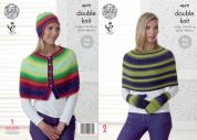 King Cole Ladies Capes, Hat & Mittens Riot Knitting Pattern 4679  DK