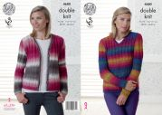 King Cole Ladies Sweater & Cardigan Riot Knitting Pattern 4680  DK