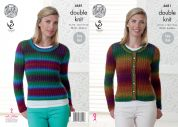 King Cole Ladies Ribbed Cardigan & Sweater Riot Knitting Pattern 4681  DK