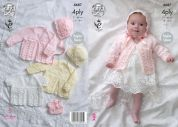 King Cole Baby Matinee Coats, Bonnet, Hat & Booties Comfort Knitting Pattern 4687  4 Ply