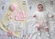 King Cole Baby Matinee Coat, Cardigan, Bonnet & Booties Comfort Knitting Pattern 4688  4 Ply, DK