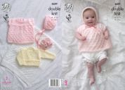 King Cole Baby Angel Top, Cardigan, Bonnet & Blanket Comfort Knitting Pattern 4689  DK