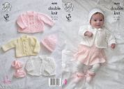 King Cole Baby Matinee Coats, Cardigan, Hats & Booties Comfort Knitting Pattern 4690  DK