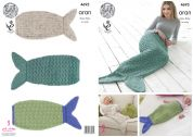King Cole Ladies & Girls Mermaid Tail Snuggle Bag Knitting Pattern 4693  Aran
