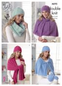 King Cole Ladies Scarves, Hat, Gloves, Headband & Neck Warmer Embrace Knitting Pattern 4695  DK