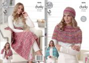King Cole Ladies Shawl, Blanket, Wrap & Hat Drifter Knitting Pattern 4696  Chunky