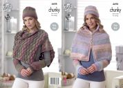 King Cole Ladies Cape, Shoulder Wrap, Hat & Wrist Warmers Cotswold Knitting Pattern 4698  Chunky