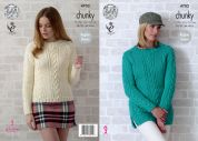 King Cole Ladies Sweaters Big Value Knitting Pattern 4702  Chunky