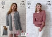 King Cole Ladies Sweater & Cardigan Big Value Knitting Pattern 4704  Chunky