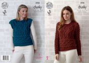 King Cole Ladies Sweater & Sleeveless Top Big Value Knitting Pattern 4705  Chunky