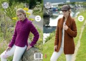 King Cole Ladies Jacket & Sweater Big Value Knitting Pattern 4707  Super Chunky