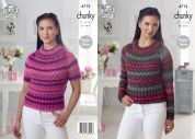 King Cole Ladies Sweaters Riot Knitting Pattern 4712  Chunky