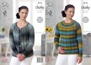 King Cole Ladies Sweater & Cardigan Riot Knitting Pattern 4713  Chunky