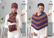 King Cole Ladies Cape, Hat, Scarf & Wrist Warmers Riot Knitting Pattern 4714  Chunky