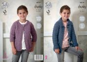 King Cole Girls Jackets New Magnum Knitting Pattern 4719  Chunky