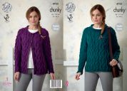 King Cole Ladies Sweater & Cardigan New Magnum Knitting Pattern 4722  Chunky