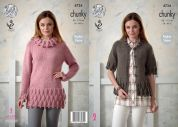 King Cole Ladies Tunic Top & Cardigan New Magnum Knitting Pattern 4724  Chunky
