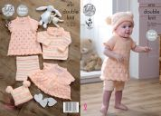 King Cole Baby Dress, Cardigan, Sweater, Shorts & Hat Comfort Knitting Pattern 4731  DK