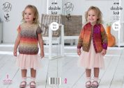 King Cole Girls Cardigan & Top Shine Knitting Pattern 4740  DK