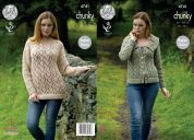 King Cole Ladies Sweater & Jacket Tweed Knitting Pattern 4741  Chunky