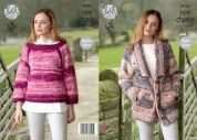 King Cole Ladies Jacket & Sweater Big Value Knitting Pattern 4753  Super Chunky