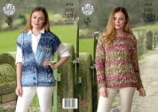 King Cole Ladies Sweater & Waistcoat Big Value Knitting Pattern 4754  Super Chunky