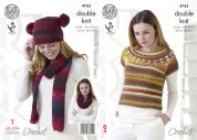 King Cole Ladies Top, Hat, Scarf & Snood Riot Crochet Pattern 4763  DK