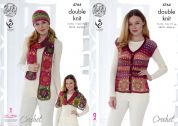 King Cole Ladies Waistcoat, Hat, Scarf & Wrap Riot Crochet Pattern 4764  DK