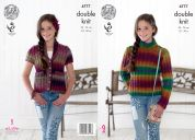 King Cole Girls Sweater & Waistcoat Riot Knitting Pattern 4777  DK
