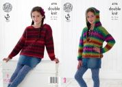 King Cole Girls Hoodie & Sweater Riot Knitting Pattern 4778  DK
