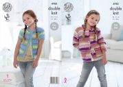 King Cole Girls Cardigans Splash Knitting Pattern 4783  DK