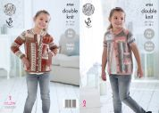 King Cole Girls Cardigans Splash Knitting Pattern 4784  DK