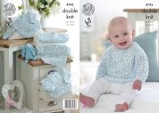 King Cole Baby Sweaters & Cardigans Smarty Knitting Pattern 4793  DK