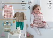 King Cole Baby Jacket, Dress, Tank Top & Hat Cherish & Cherished Knitting Pattern 4804  DK