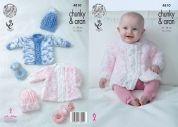 King Cole Baby Coat, Sweater & Hat Cuddles & Comfort Knitting Pattern 4810  Aran, Chunky