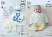 King Cole Baby Cardigans, Dress & Hat Cuddles & Comfort Knitting Pattern 4811  Aran, Chunky